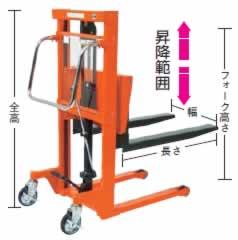 ロングフォーク足踏油圧リフターM227EN-H150-9
