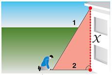 ピタゴラス機能 下記図のように2点を測定することで、離れた位置から建物の高さ・幅を測定できます。下図2の測定は測定 対象に対して90°になることが必要です。